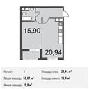 Планировка 1-комн. квартиры 50,07 м2