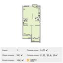 Планировка 3-комн. квартиры 95,20 м2
