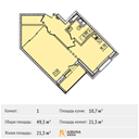 Планировка 1-комн. квартиры 49,30 м2