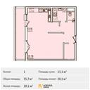 Планировка 1-комн. квартиры 55,70 м2